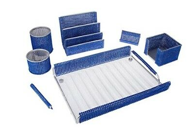 7 Piece Majestic Home Or Office Supply Desk Set Organizer Blue Mesh Bling Gift
