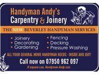 Handyman, Decorating, Joinery, Gardening, Fencing, Pressure Washing, Decking, Kitchens & Maintenance