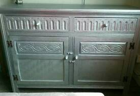 Antique Silver Solid Wood Cupboard/Cabinet with Two Drawers