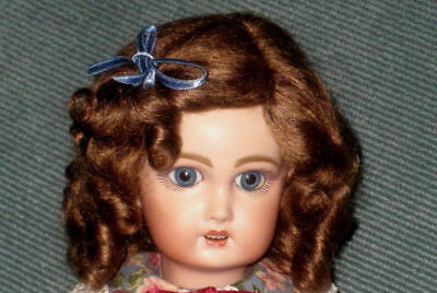 Daisy light brown mohair wig for antique French/ German bisque doll size 16