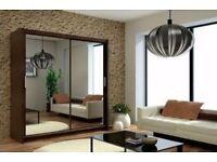 2 Sliding Door Double Mirror Wardrobe with LED Light 120cm/150cm/180cm/203cm