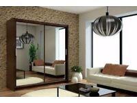 🔴🔵⚫ Berlin Black White Wenge and Oak🔴🔵⚫2 Door Full Mirror Wardrobe Bedroom Furniture
