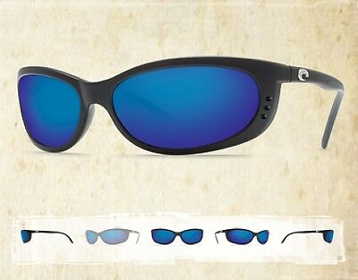 NEW Authentic COSTA DEL MAR FATHOM Black Blue Mirror 580g Polarized Sunglasses  on Rummage