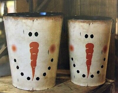 New Primitive Country Rustic Christmas SET 2 SNOWMAN FACE BUCKET Vase Pot Can