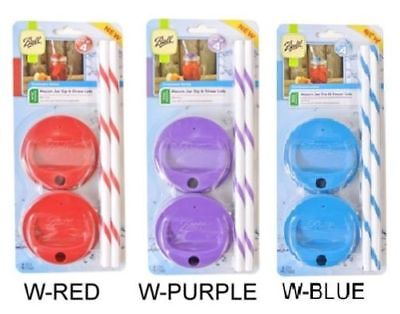 Sip Straw - Ball Mason Jar Sip & Straw Lids Reg & Wide Mouth & Straws Choose Color & Type
