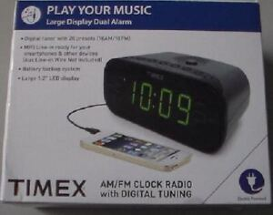 Timex AM/FM Clock Radio with Digital Tuning & Line-In for Phones