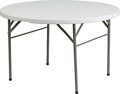 Flash Furniture 48 Round Bi-Fold Granite White Plastic Folding Table NEW