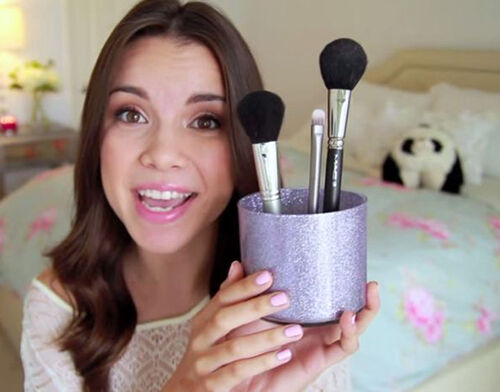 Glitter makeup brush holder