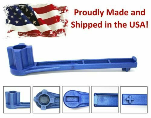 Blue 4-IN-1 Bung Drum Wrench 55-30-15 Gallon Water Barrel Nut Cap Plug