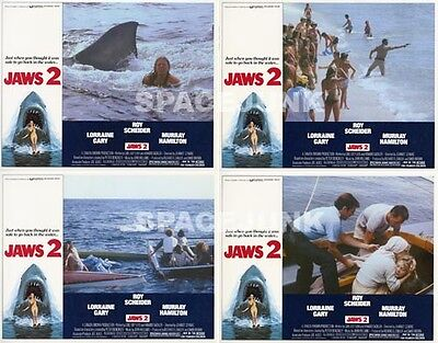 JAWS 2 (1978) U.S. Lobby Cards Complete Set of 4 (11 x 14 Inches)