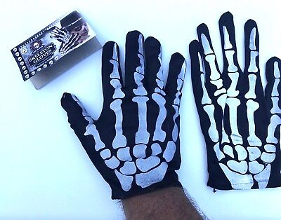 Adult SKELETON GLOVES Black Cotton Costume Hand Halloween Monster Bones Zombie
