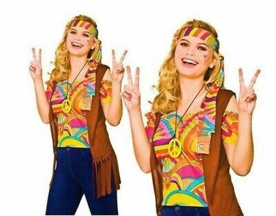 Damen Erwachsene Cool Hippie Set 60s 70s 1960s Hippie Top Kostüm Größe 10-20