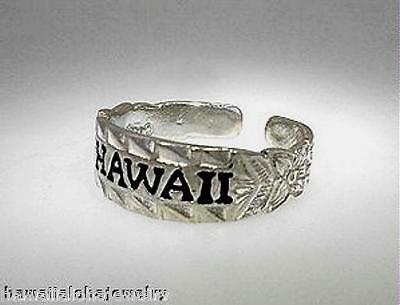 6mm Hawaiian Rhodium On STER Silver Heritage Scroll Black Enamel HAWAII Toe Ring
