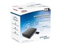 Toshiba Canvio AeroCast HDTU110EKWC1 Wireless Portable Hard Drive (1 TB USB 3.0) NEW Sealed box