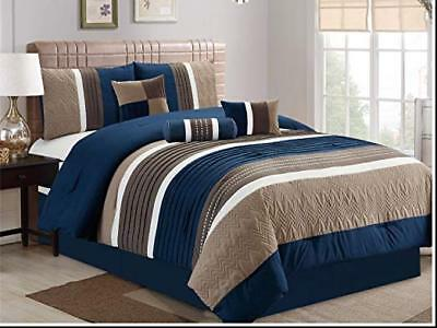 DCP 7Pcs Collection Bed in Bag Luxury Stripe Microfiber Comforter Cal King Navy