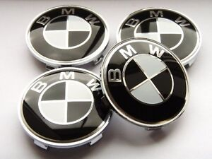 Brand New Sealed Black BMW SET OF 4 WHEEL HUB CAPS 68MM EMBLEM