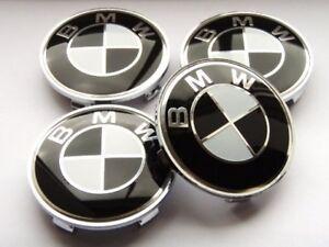 Brand New Sealed Black BMW SET OF 4 WHEEL HUB CAPS 68MM EMBLEM