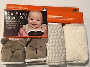 New in Package Eddie Bauer Teddy Bear Strap Cover Set