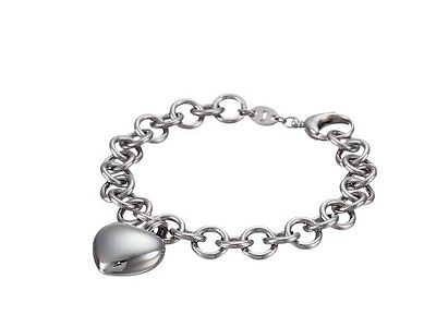 - Fossil Jewelry Polished Silver Stainless Steel Puffy Heart Pendant Bracelet #231
