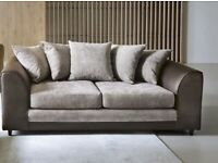 😍BRAND NEW BROWN BYRON DINO 3 SEATER SOFA IN LEATHER AND CORD FABRIC😍
