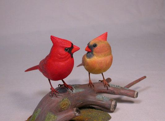 Original Bird Wood Carved Pair of Cardinals/Birdhug