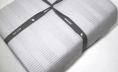 West Elm Pale Light Gray Dobby Ladder Stripe Organic Cotton King Duvet Cover New