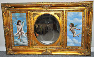 Vintage Ornately-Framed Wall Mirror w/ Hand-painted Panels
