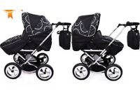 White and black new condition twin pram/pushchair 180 ONO