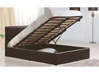 """**100% GUARANTEED PRICE!**BRAND NEW-Kingsize Storage Leather Bed With 10"""" Dual Sided Quilted Mattres"""
