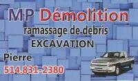 Ramassage de débris meuble Démolition Excavation 514-831-2380