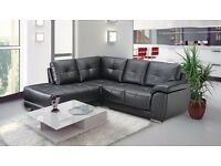 Brand New - Black Leather Corner Sofa, Static, seats sofas settee suite 5 seater DELIVERY AVAILABLE