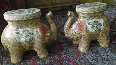 14 in. Oriental Elephant Stool Porcelain Chinese Ceramic Art Asian Decor (Chinese Ceramic Porcelain Garden Stool)
