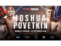 Joshua vs Povetkin 6 great tickets for sale!