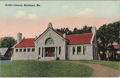Antique POSTCARD c1910s Public Library ROCKLAND, ME