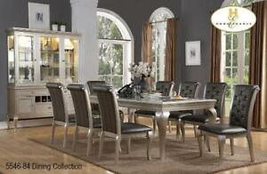 7 PC Dining Table Set in Silver (MA525)