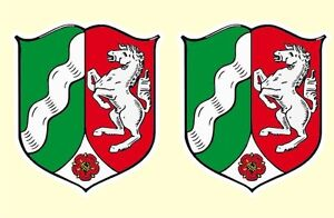 2 X Aufkleber Wappen NRW Nordrhein Westfalen Flagge Germany konturgestanzt
