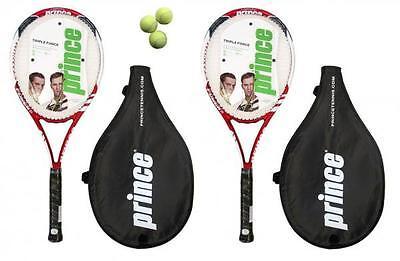 (2 x Prince Triple Force Power Ti Tennis Rackets + 3 Balls RRP £170)