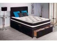 4FT6 DOUBLE DIVAN BED WITH MEMORY FOAM AND SPRING MATTRESS ** BRAND NEW BAGGED **