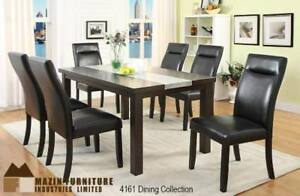 Espresso finish dinette set with stone centre slab (MA390)