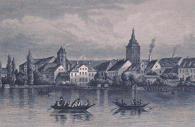 Königsberg Schloss vom Schlossteich gesehen alter Stahlstich um 1850
