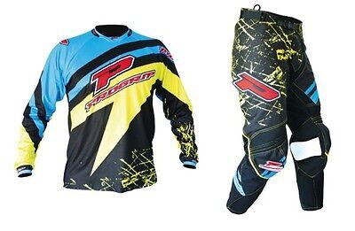 "Progrip MX- Motocross-Enduro Clothing-Kit Blue/Yellow 28"" Waist - Small Shirt"