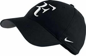 New Nike RF Roger Federer Hat Cap Black / White Tennis  Dri Fit 371202-010