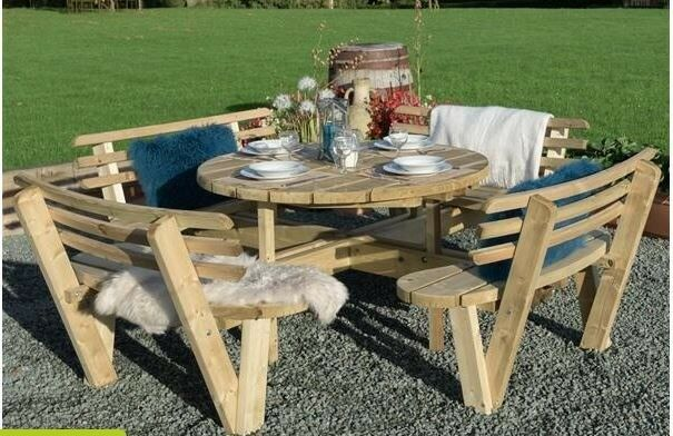 Admirable 8 Seat Round Wooden Picnic Table With Back Rests Used Good Condition 2 Years Old In Crewkerne Somerset Gumtree Pabps2019 Chair Design Images Pabps2019Com