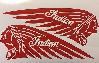 """FIRE RED Indian 4.5"""" x 12"""" Motorcycle Tank Vinyl Decal Scout Chief L & R"""