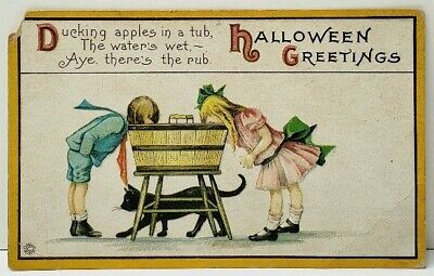 Black Halloween Apples (Halloween Greetings Ducking For Apples in a tub Girl Boy Black Cat Postcard)