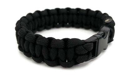 "Paracord Bracelet 550 Black Tactical 3/8"" Buckle (Black) Hand Made"