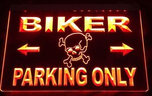 Affiche DEL Biker parking only LED Sign.