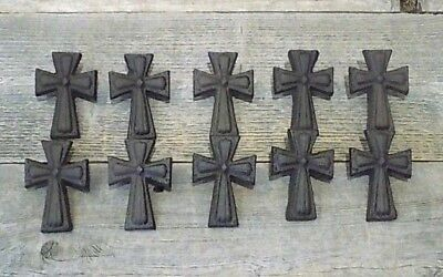 10 CAST IRON CROSS PULLS W/ SCREWS DRAWER CABINET HANDLES DRESSER CROSS -