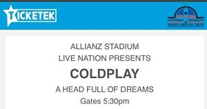 Selling: Coldplay A Head Full of Dreams Sydney 14th Dec Chipping Norton Liverpool Area Preview