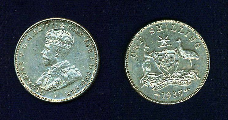 AUSTRALIA GEORGE V  1935  1 SHILLING SILVER COIN, GREAT!   ALMOST UNCIRCULATED+